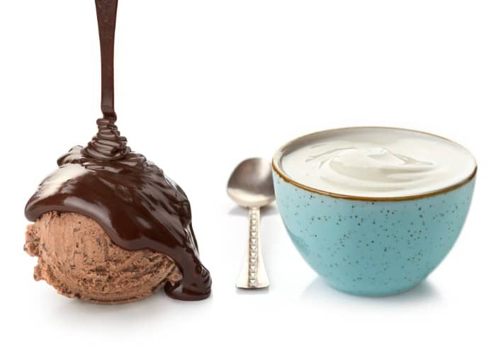 chocolate and yoghurt in a bowl
