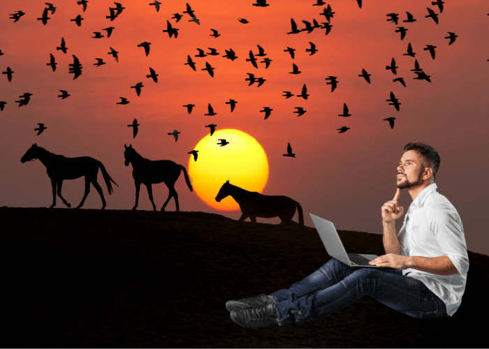 man thinking and researching about animals