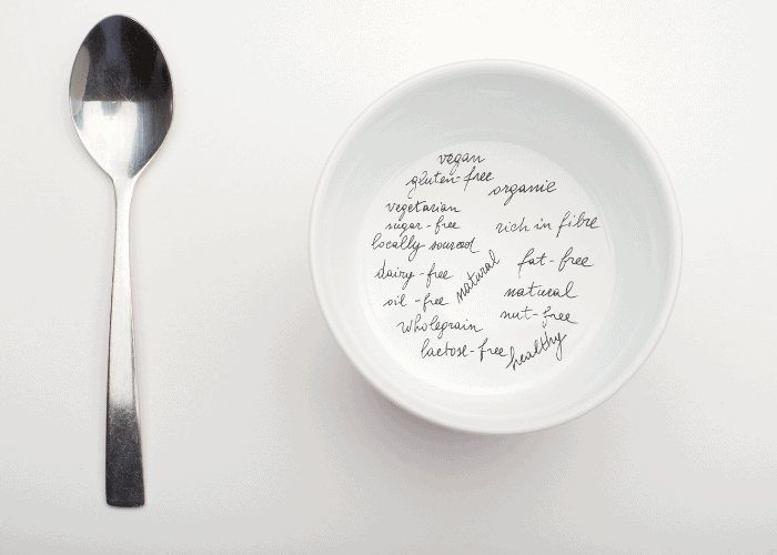 spoon and bowl with letters